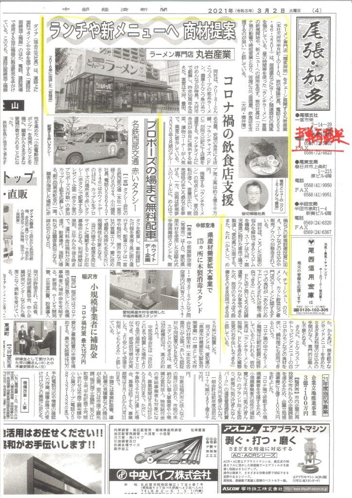 中部経済新聞R3.3.2